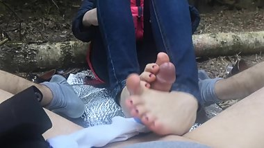 public footjob and socksjob in the woods