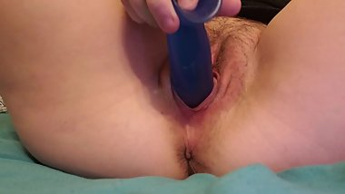 Fucking myself with blue;watch me daddy