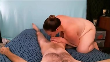 BBW Rides Cock and Jumps Off to Catch the Load