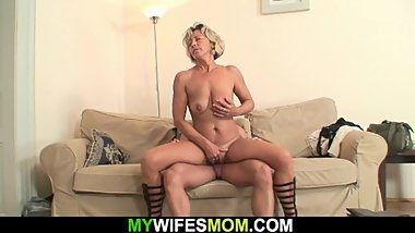 Girlfriends hot mom sucking and riding his horny cock